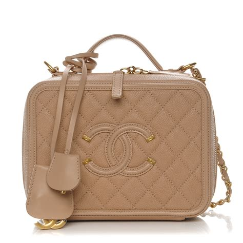 Chanel Cc Filigree Vanity Bag 1145 Tas Fashion Wanita Impor chanel caviar quilted medium cc filigree vanity beige 222099