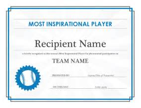 editable template for students most inspirational player award certificate editable