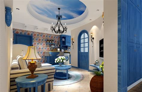 beautiful blue for mediterranean house interior