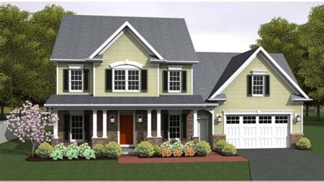 colonial style home plans three bedroom colonial with cordial front porch hwbdo76661