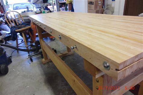 bolted work bench  garret hack trestle double bolt