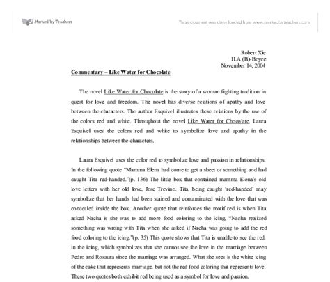 Like Water For Chocolate Essay by Like Water For Chocolate Essay Thin