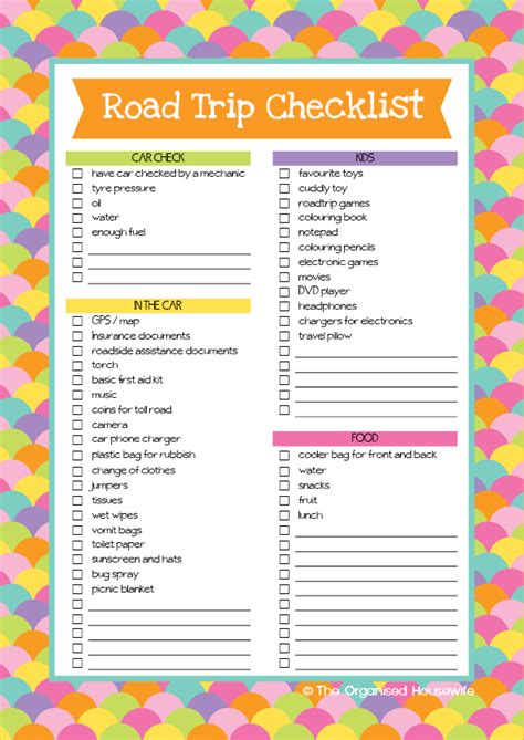 printable travel checklist road trip checklist and aussie road trip games book the