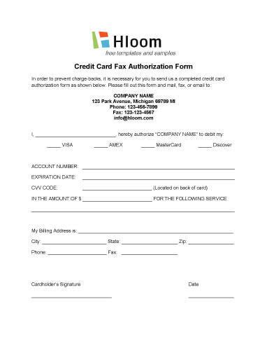 Credit Card Authorization Template by Credit Card Authorization Forms Hloom