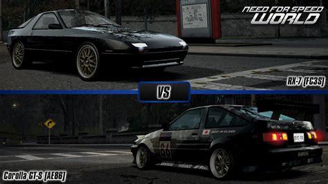 z vs ae86 need for speed mazda rx 7 fc3s vs toyota corolla