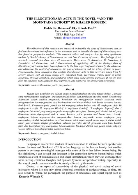 """(PDF) THE ILLOCUTIONARY ACTS IN THE NOVEL """"AND THE"""