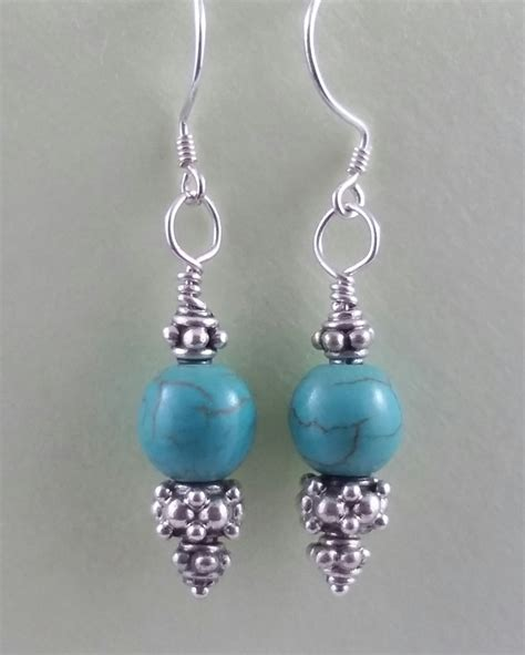 Handmade Turquoise Earrings - turquoise sterling silver decorative handmade earrings