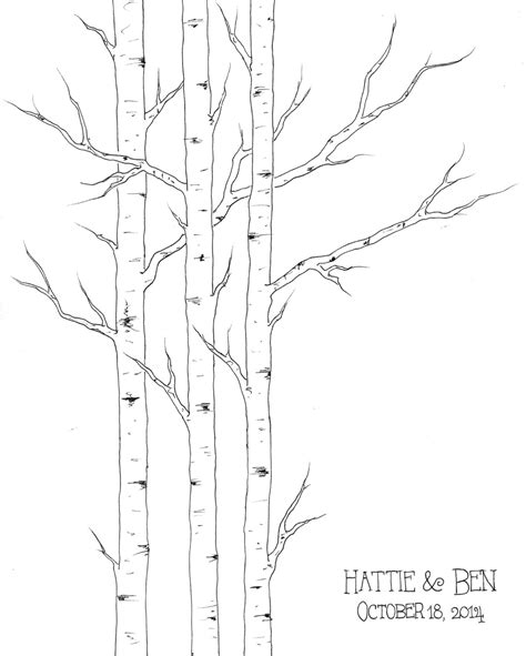 winter wedding guest book small aspen tree thumbprint tree