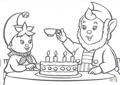 big cake coloring pages big ears offers a cup of tea to noddy a birthday cake is