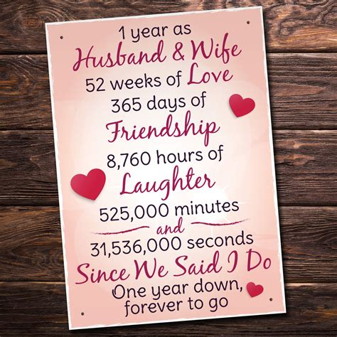st wedding anniversary plaque husband wife gift   women