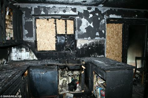 Burnt Kitchen a and five been left homeless after their tumble drier did this to their
