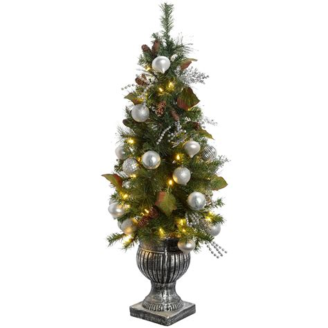 pre lit white tree with blue lights werchristmas pre lit potted tree with 50 warm