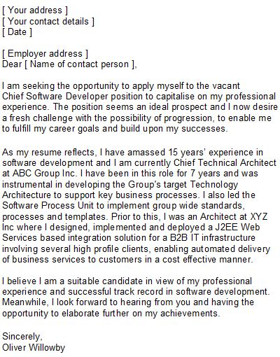 cover letter for software developer position software developer covering letter sle