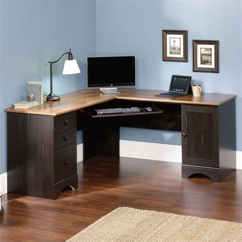sauder corner computer desk sauder harbor view corner antiqued paint computer desk ebay