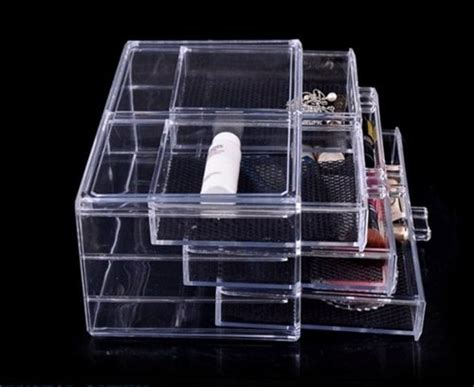 See Through Storage Drawers by Cosmetic Organizer Storage Box With 4 Drawers With Clear