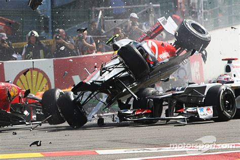 A crash at the start involving Lewis Hamilton, McLaren