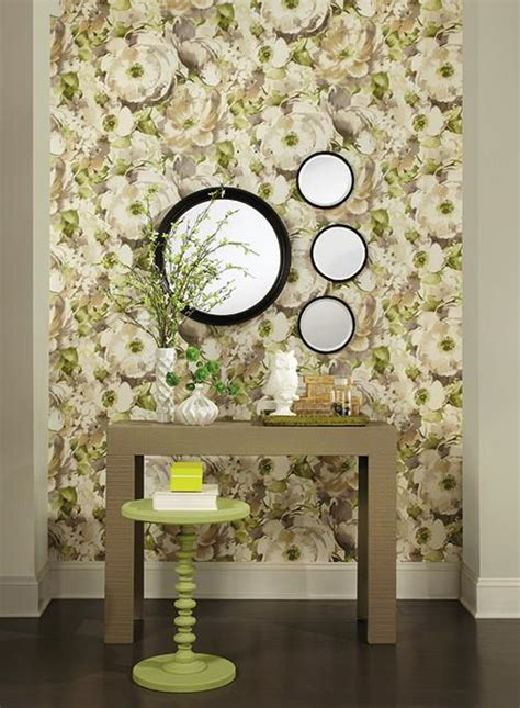 Watercolor Poppy Wallpaper In Grey And Green Design By Poppy Wallpaper Home Interior