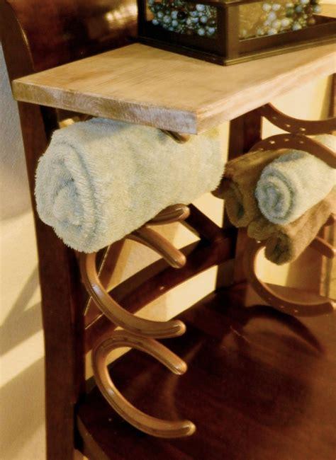 Country Towel Racks by Rustic Western Cowboy Horseshoe Towel Rack Shelf Country