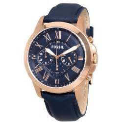 fossil grant multi function navy navy leather s