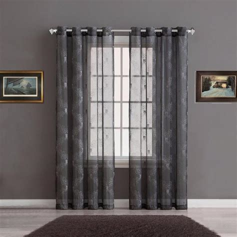 sheer curtain panels with designs warm home designs sheer charcoal curtain panels with