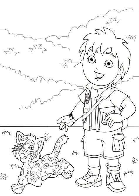 dora and diego coloring page go diego go coloring page 7 png 595 215 842 dora birthday
