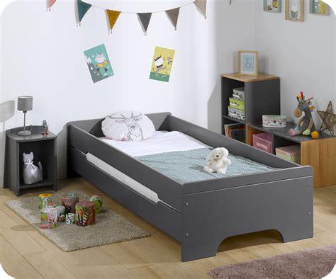 lit enfant gris anthracite avec matelas
