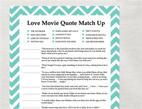 printable love games instant love quote matchup instant download bridal shower