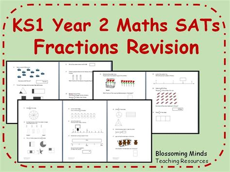 ks1 year 2 maths sats fractions revision 3 levels