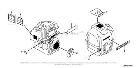 honda engines gxnt  engine tha vin gcast  parts diagram  label