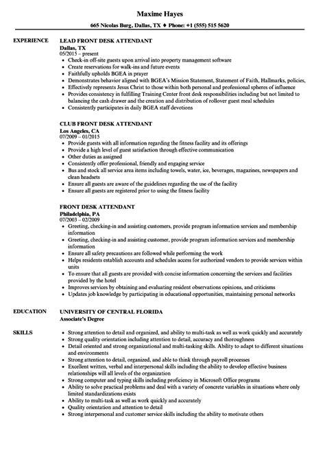 front desk attendant resume sles velvet