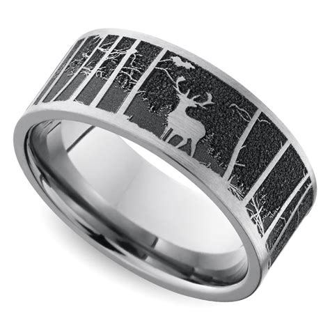 Laser Carved Mountain Themed Mens  Ee  Wedding Ee   Ring Inanium