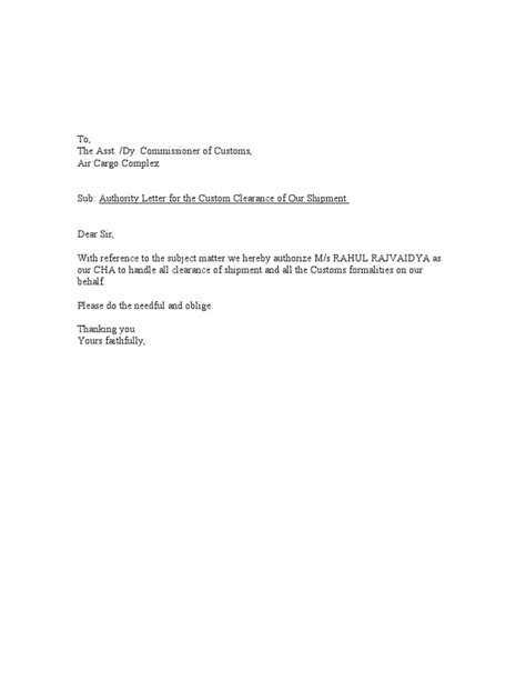 authorization letter for clearance authority letter format