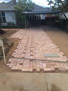 driveway paving using old canberra red bricks recycled canberra red brick driveway