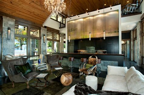 interior design mountain homes irrational modern interiors modern mountain home rustic living room charlotte