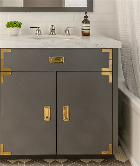 grey cabinets gold hardware white vanity with brass hardware design ideas
