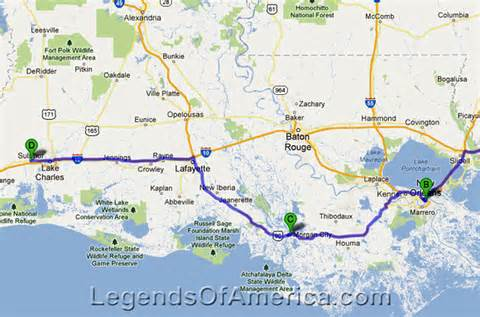 Map Of Southern Louisiana by Legends Of America Photo Prints Southern Louisiana