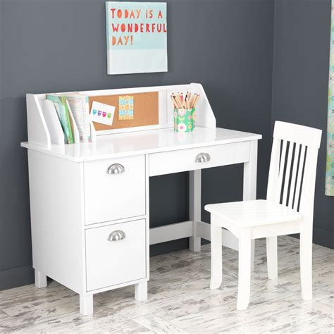 Kid Desk Furniture Study Desk With Drawers White By Kidkraft Rosenberryrooms