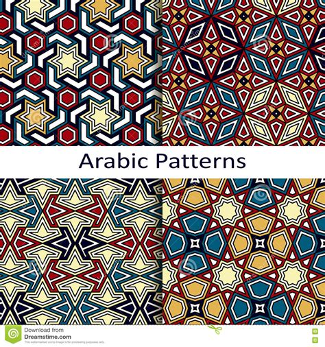 arab traditional pattern set of four seamless vector arabic patterns stock vector
