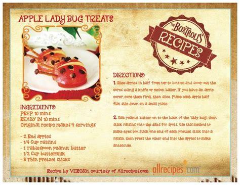 printable apple recipes printable recipes from the boxtrolls apple ladybug