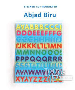 Sticker Dapur Biru jual sticker non karakter abjad biru alphabet stiker