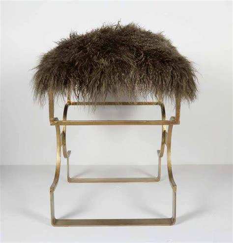 mongolian fur bench ultra luxe hollywood regency bench in moss mongolian lamb