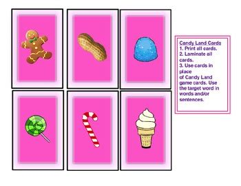 Candyland Cards Template by Speech Therapy Land Picture Cards For Classification