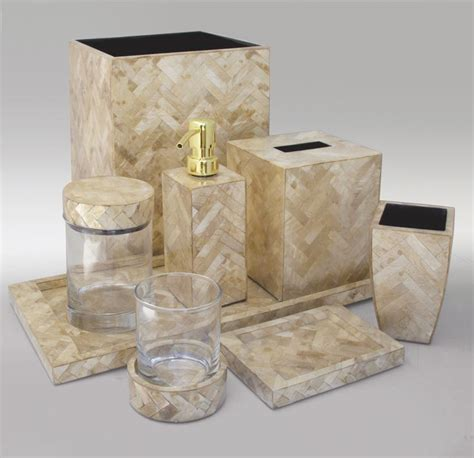 shell bathroom accessories gold herringbone luxury shell vanity set from gail deloach