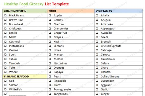 healthy grocery shopping list template healthy food grocery list template word dotxes
