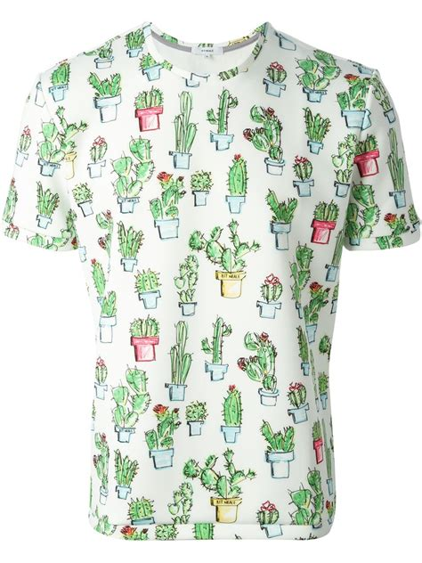 Cactus Print Shirt kit neale cactus print t shirt in green for white lyst