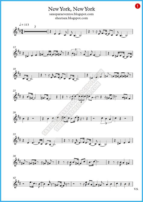 song free new york new york frank sinatra score and track sheet
