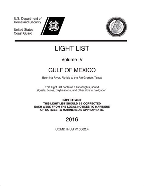 Uscg Light List by U S Coast Guard Light List Volume Iv 4 2016 Ed