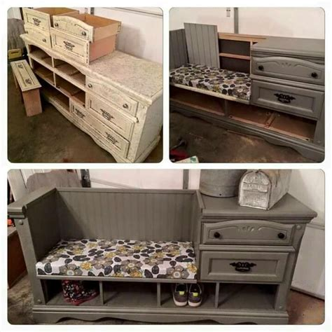 dresser turned into a bench before and after diy reupholstering furniture ideas
