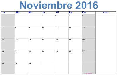 Calendario Noviembre Calendario Noviembre 2016 Para Imprimir Gratis 2016