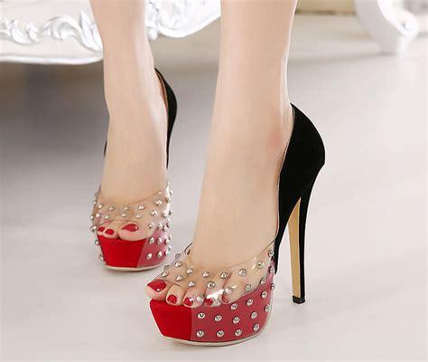 high heels show show transparent color matching rivets high heels